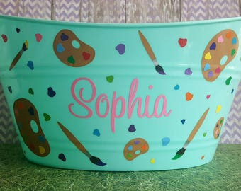 Art themed Easter Basket, Plastic Storage bin for Toys, Personalized