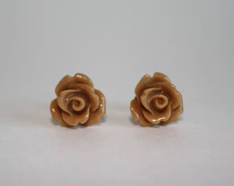 I Am Worthy 10mm Caramel Brown Resin Rose Studs with Surgical Stainless Steel Posts and Backs