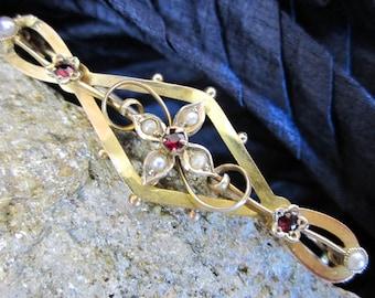 "Victorian 9K Hand Formed Brooch, Rubies & Pearls, 2"" Long Pin, Hallmarked c.1900, Love Token, Ex. Condition, UK, England.."