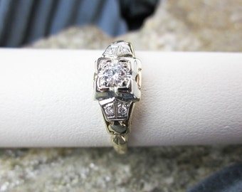 Ring 14K & Plat. 1920s Diamond Engagement/ Promise/ Commitment Solitaire, Total 1/5CT. Genuine Diamonds, Authentic Art Deco, USA.