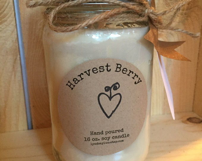 Hand Poured, HARVEST BERRY scented, 100% Soy Candle in 16 oz. Glass Mason Jar with Cotton Wick