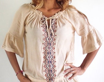Vintage Beige coloured Embroidered Tunic/Blouse with Frill sleeves and skirt like end. Very Cute. Elastic at waist.