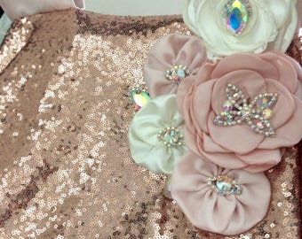 Baby carseat canopy Blush with rose gold sequin, flowers with ab effect brooches