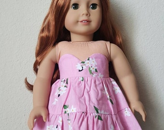 New Penelope Dress for 18 inch dolls by The Glam Doll -Pink Floral - Strapless