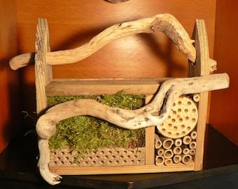 Bee house, Mason bee house, 104 bug house, Bug hotel, garden art, gift idea, Rustic garden art, Driftwood, Wedding gift idea, rustic decor