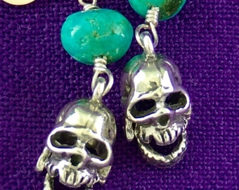 LAUGHING SKULL dangle sterling silver and turquoise earrings.