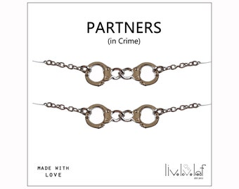 Silver Handcuffs bracelets Partners in crime matching best friends Bracelets - Rhodium plated handcuff charm bracelet BFF jewelry Christmas