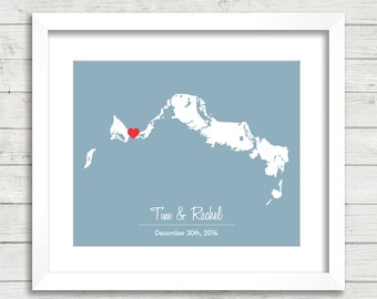 8x10 Turks and Caicos Love Map - Providenciales, Turks and Caicos - Destination/Beach Wedding - Tropical - Engagement & Anniversary Gift