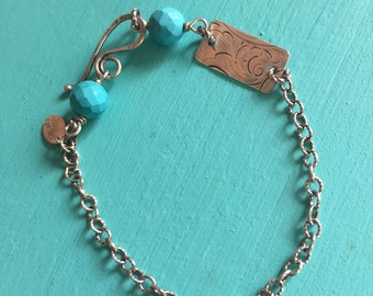 Sterling Silver Turquoise Home on the Range Bracelet