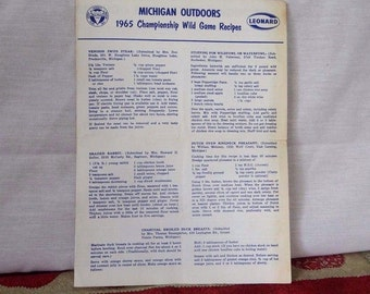 Vintage Wild Game Recipe Pamphlet, 1965, Michigan Outdoors, Duck, Venison, Pheasant, Rabbit recipes, Muskrat