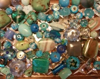 Turquoise Blue Bead Destash Bead Soup Mix
