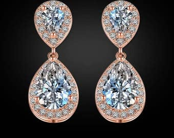 """PAIR Small Dangle Crystal Vintage Rose Gold Wedding Prom gauges plugs tunnels EARRINGS ONLY 2g 0g 00g 7/16"""" 1/2"""" 6mm 8mm 10mm 11mm 12mm"""