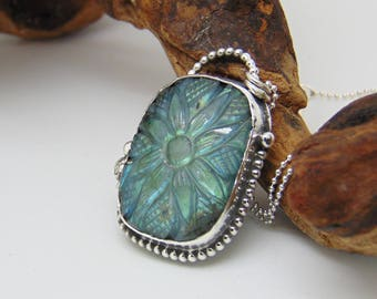 Carved Labradorite Pendant  - Sterling Silver Necklace - Flower Jewellery - Hallmarked Silver - Labradorite Necklace - Bezel Set Pendant