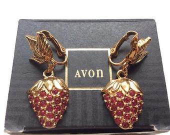 Summer outdoors Avon Earrings Red Rhinestone  Vintage earrings  Earrings vintage  Earrings dangle  Vintage Avon  Earrings Avon  Avon vintage