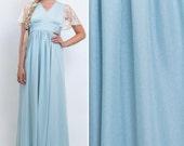 Light blue dress vintage SEVENTIES dress BOHO dress bridesmaid dress maxi dress 70s dress BLUE dress hippie dress 1970 dress 70s prom dress