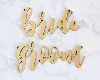 Bride and Groom Chair Signs, Wood Calligraphy Bride and Groom Chair Signs,  Sweetheart Chair Signs, Laser Cut Wedding Signs