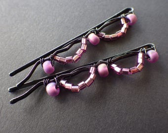 Purple and Black- Wire Wrapped- Beaded Bobby Pins- Hair Style- Fashion Accessory- Unique Gift Idea for Teen Girls and Women