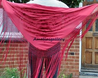 Hand Embroidered silk flamenco spanish dance wear triangle piano shawl