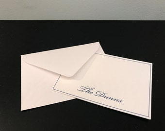 White and Navy Classy and Professional Calling Cards - Set of 10