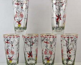 Set of 6 Vintage 1952 Libbey Circus Glasses 'Greatest Show on Earth' Highball Barware 14 oz
