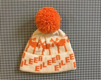 """1980's, moose, """"Eileen"""" wool, pom pom, ski hat, in off white and orange, Adult size"""