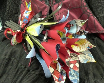 Comic book paper calla lily wedding bouquet Spiderman paper flower hand tied style bouquet.
