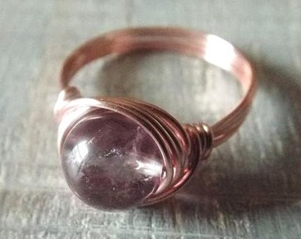 Ametrine Ring, Purple Stone Ring, Rose Gold Ring, Ametrine Jewelry, Wire Wrapped Ring, Gift for Her, Light Purple Ring, Promise Ring
