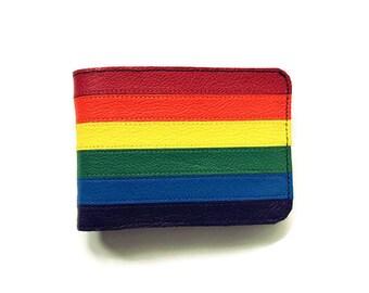 Gay pride wallet On Sale, rainbow wallets, gay rainbow wallets, lgbt wallets, rainbow striped leather wallets, gay wallets.