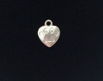 8 Pieces Heart Charms with Paw Pendant Charm Double Sided Puffed 19x13mm Silver Finish 23-10-SS