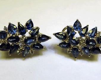 Genuine Pearshape Sapphire & Diamond Earrings