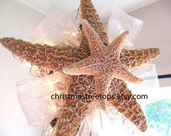 Starfish Tree Topper Lighted Christmas Tree Top Star Coastal Beach Decor Christmas Glittered Sugar Starfish beach house lover gift 13 Inch