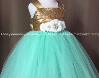 beautiful flower girl tutu  dress in ivory ,mint and gold