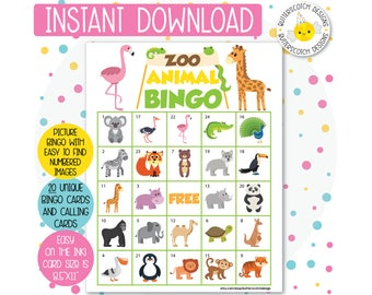 Zoo Safari Animal Bingo Cards (20 Different Cards) - Instant Download