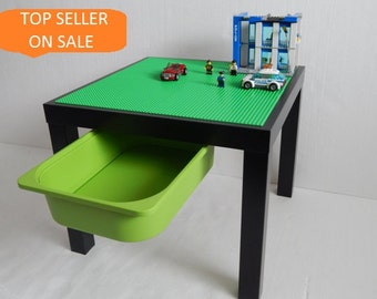 """Kids LEGO® Table with Storage. Large 20""""x20"""" Green LEGO® Base Plate Building Surface on Black Table"""