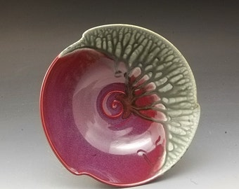 Handmade  Pottery Porcelain Bowl Plum Red And Blue-green by Mark Hudak