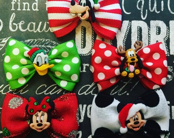 """Bows for Dogs or Girls - 2"""" Mickey Christmas Mini Bows - Individual or Set - Mickey and Minnie Mouse - Goofy - Holiday Bows - Dog Bows"""