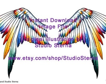 Drawing Fantasy Bird Wing rainbow color design watercolor instant download image file outlines animal creature print dolls