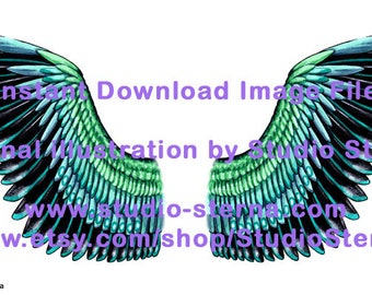 Drawing fantasy bird angel wing design feathers color 1 black turquoise watercolor instant download image file print cut make create dolls