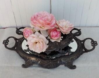 Français ancien jardinière et miroir plateau art nouveau flowerholder Français décoration table romantique Français pièce maîtresse affichage vase de fleurs