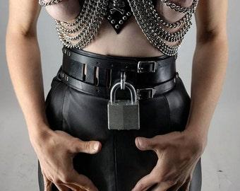 Locking Leather Double Buckle Wasp Waist Fetish Belt. Mature Modern BDSM Couture Dominatrix Fashion. Dungeon Submisive Dominant Bondage Sex