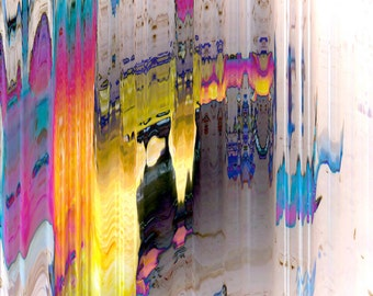 """Abstract colorful wall art photography based digital image from floral photo,  """"Testing the Boundaries"""" contemporary art, LemonDropImages"""