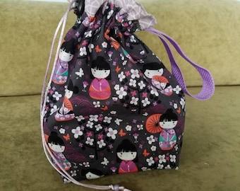 Geisha 1 To 2 Skein Reversible  Drawstring Bag 4 Looks In 1 Bag