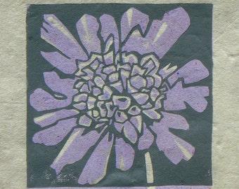 Scabious mini linocut print