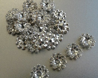 Vintage Swarovski Crystal Earring Jackets ~ 4 Pieces Per Order (2 Pair) ~ Rhodium Plate - For Size 5mm to 3mm Earrings Studs ~ Components