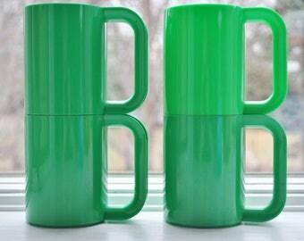 Heller Massimo Vignelli Green Mugs Set of 4 Mid Century Modern 1970s