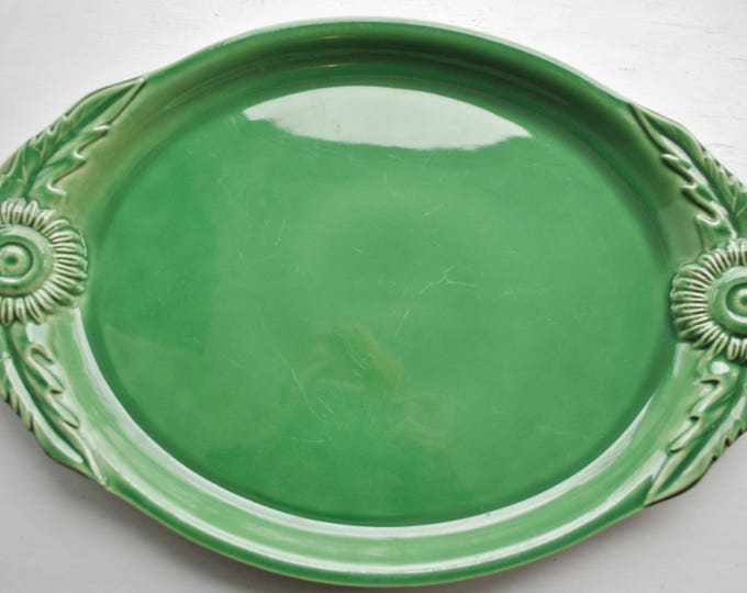 Appolia France Green Sunflower Serving Platter