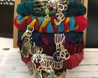 Sale !!! 20   Sari Silk Bangle/bangle/om bangle/Hamsa hand bangle/ boho bangle/yogi bracelet/boho