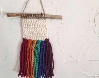 Rainbow wall hanging weave crochet fringe
