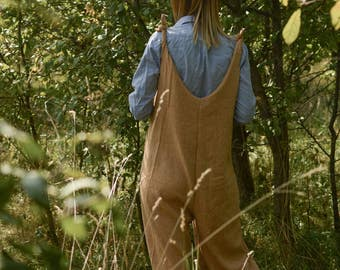 Wool-Linen Jumpsuit Playsuit Overall