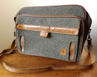"Hartmann Luggage ~ Carry-On ~ Tote Bag ~ 17"" x 12"" x 6"" ~ 1970's ~ Tweed with Leather Binding ~ Soft Sides ~ Camera Bag"